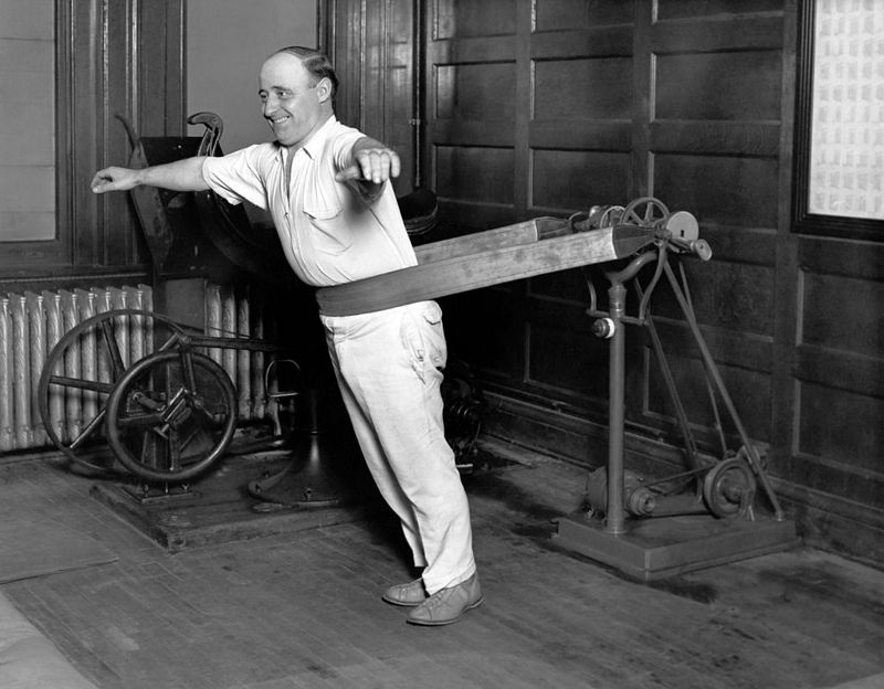 One of the businessmen that patronizes the Chicago Athletic Club using the new vibrating belt machine, Chicago, Illinois, October 21, 1927.