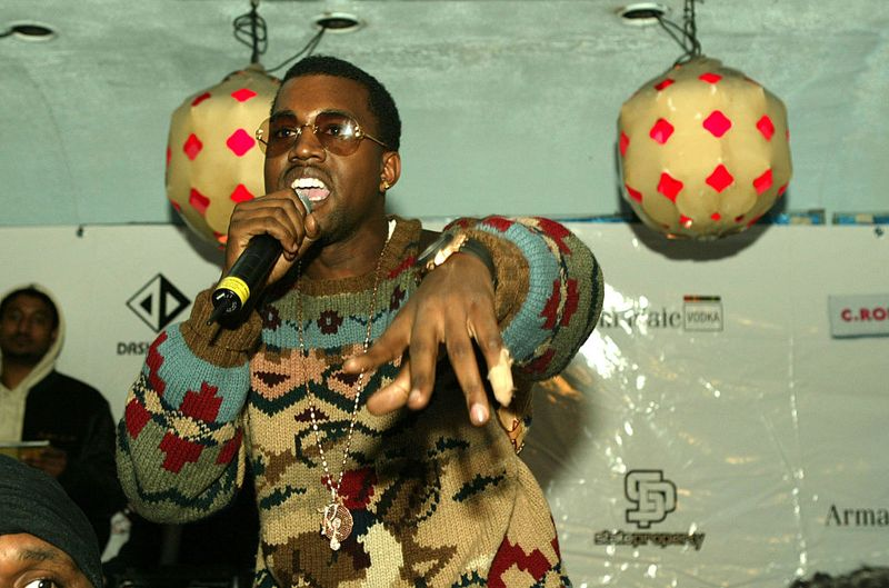 Rapper Kanye West performs at the Lifebeat Hearts and Voices benefit for AIDS research on March 11, 2004 at Float, in New York City.