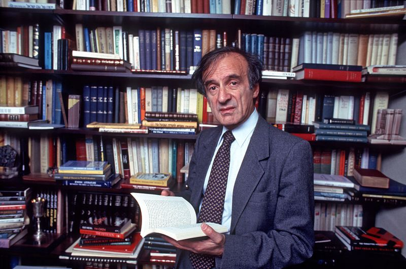 Nobel Prize winning author Eli Wiesel in his study at home, New York, New York, October 14, 1986. (