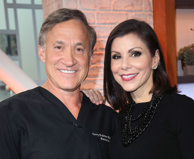 HOLLYWOOD, CA - JANUARY 04: TV personalities/husband & wife Dr. Terry Dubrow (L) and Heather Dubrow visit Hollywood Today Live at W Hollywood on January 4, 2017 in Hollywood, California.