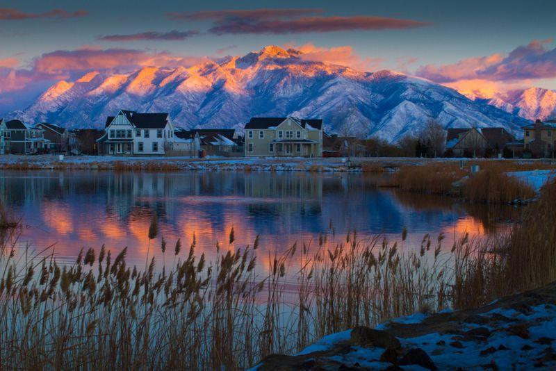 Beautiful sunset in Daybreak, South Jordan, Utah USA during winter