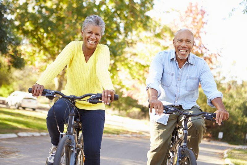 older couple bike riding together