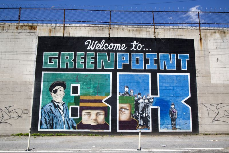 Iconic Welcome to Greenpoint BK mural at the India Street Mural Project in Brooklyn