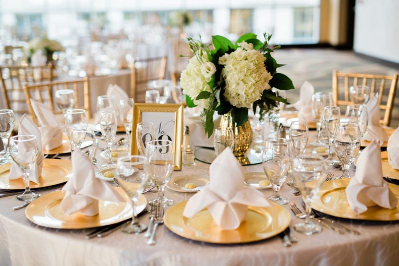 Table with white flowers as centerpiece