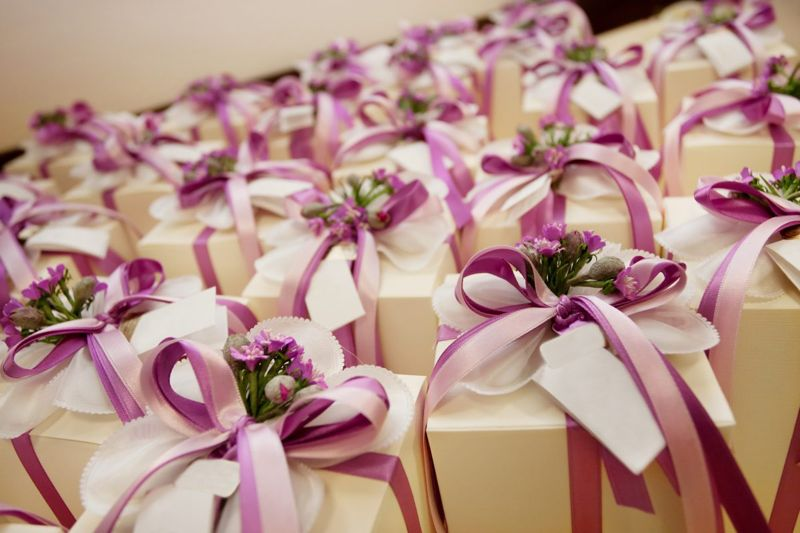 Presents lined up on a table
