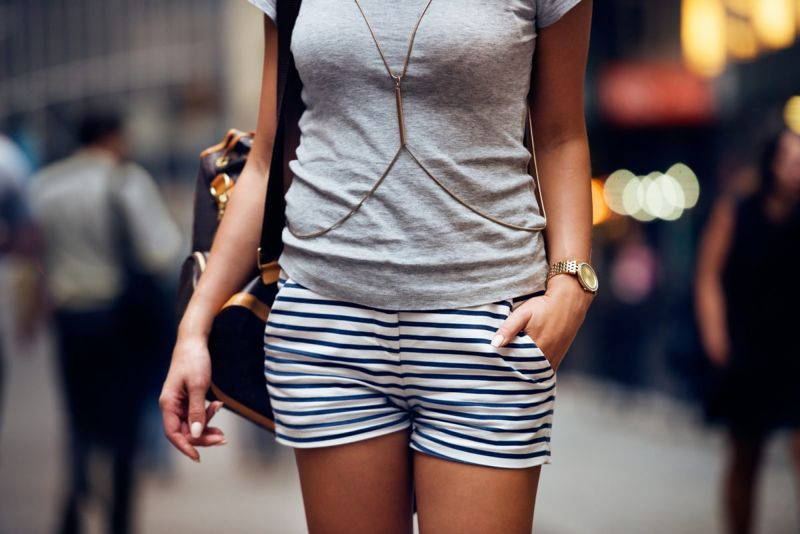 Casual outfit focusing on striped shorts