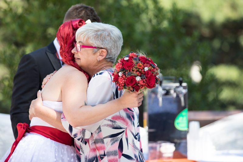 Mother-in-law Hugging Bride After Wedding Ceremony.