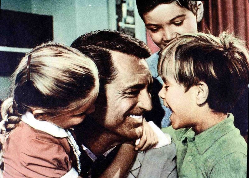 Kino. Hausboot, Houseboat, Hausboot, Houseboat, Mimi Gibson, Cary Grant, Paul Petersen, Charles Herbert Der Witwer Tom Winston (Cary Grant) zieht mit seinen Kindern auf ein Hausboot., 1958.