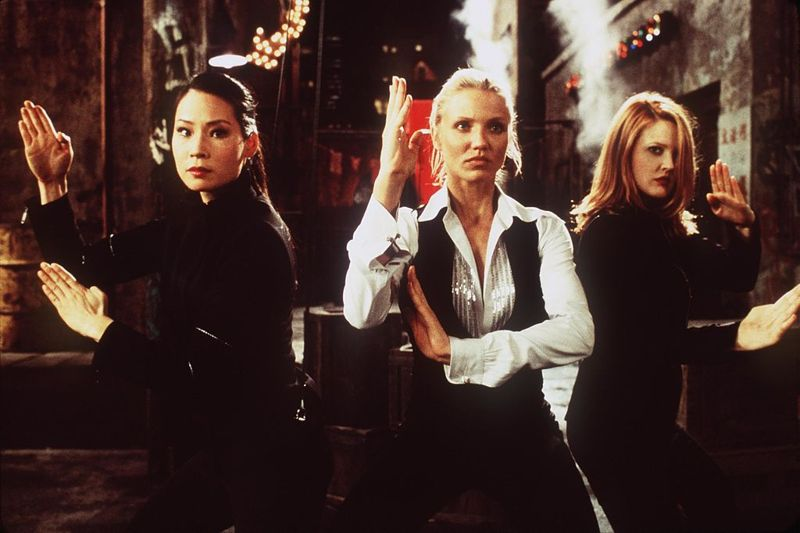 """381311 01: Lucy Liu (Alex), Cameron Diaz (Natalie) and Drew Barrymore (Dylan), left to right, star as a trio of elite private investigators in Columbia Pictures'' action-comedy, """"Charlie''s Angels."""""""