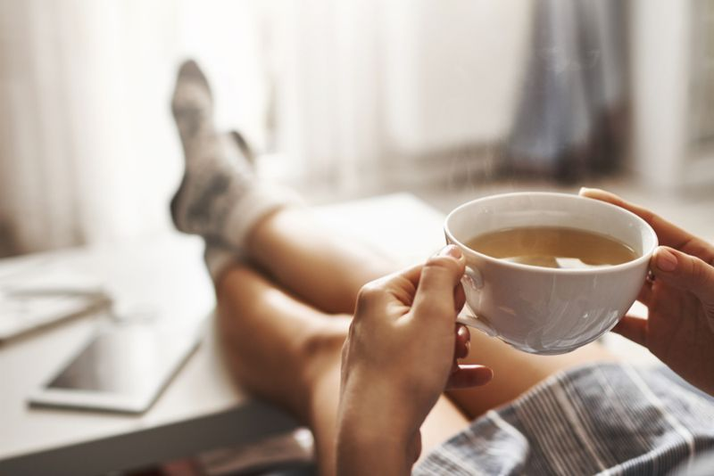 taking a break with a cup of tea