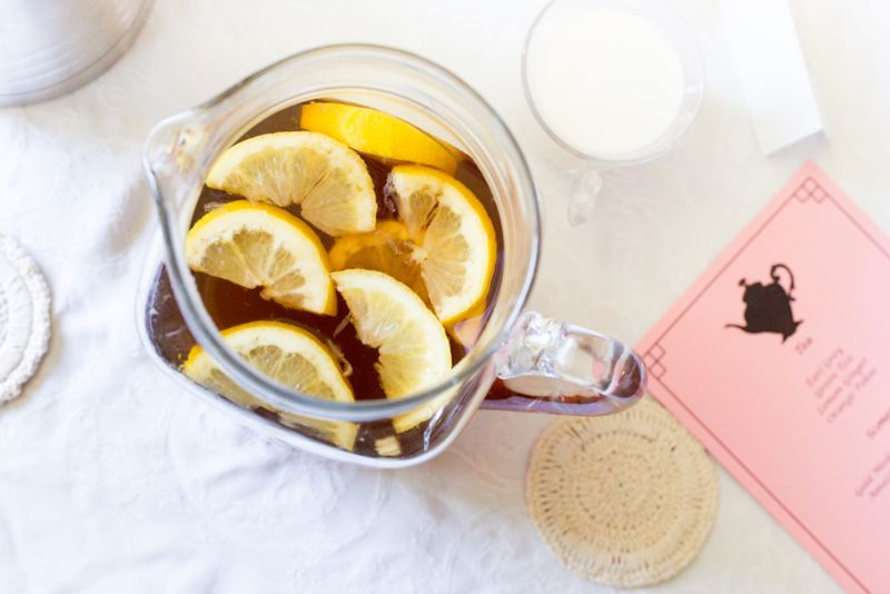 pitcher of real iced tea with lemon
