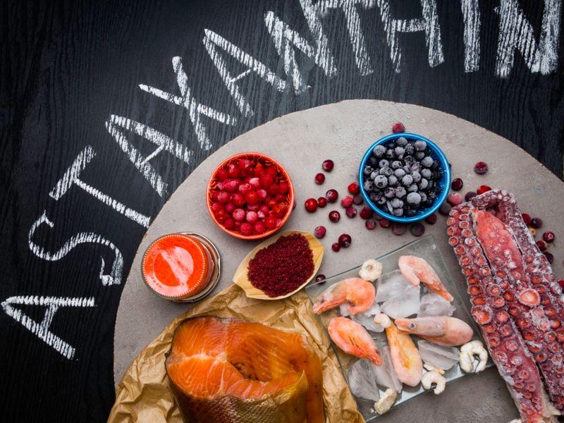 astaxanthin written around food sources
