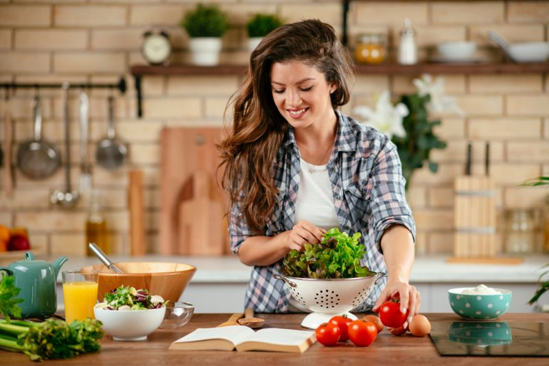 woman preparing a healthy meal