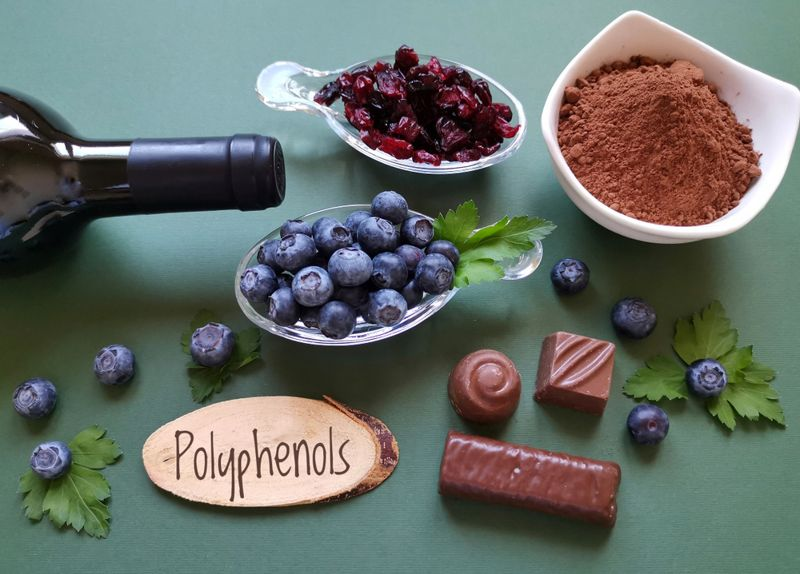 polyphenols concept with wine and chocolate