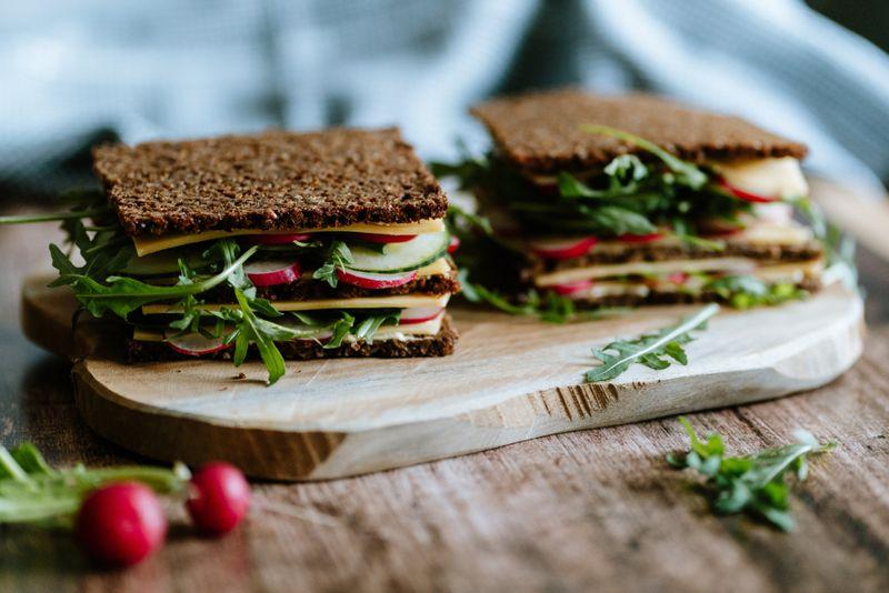 healthy sandwiches on whole grain bread