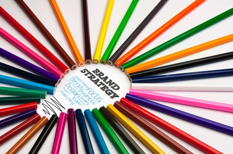 product branding concept with colored pencils