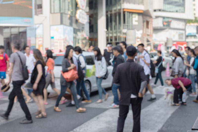 lots of people walking downtown