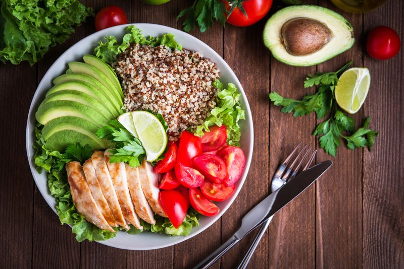 healthy bowl meal with grains and vegetables