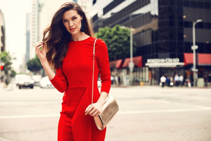 attractive woman in a red dress