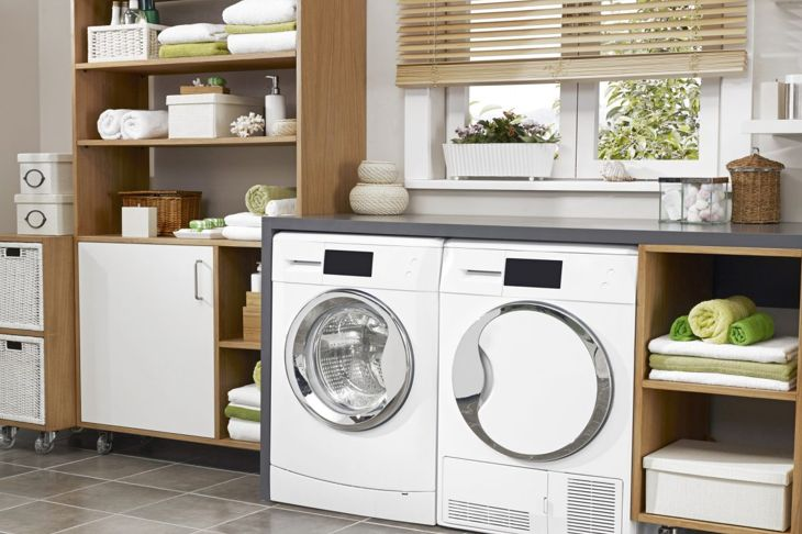 Portable cabinets help keep things neat and orderly, while making laundry time easier.
