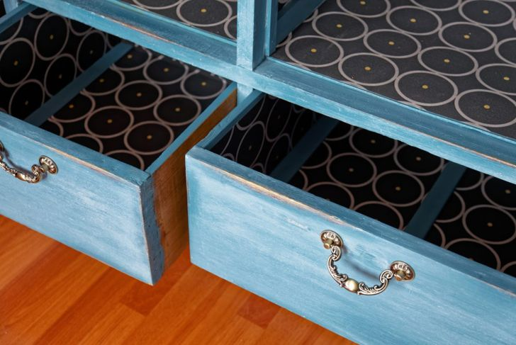 A vintage armoire is transformed with a Classic Blue color wash.