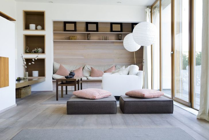 Low, thick floor seating cushions are both decorative and functional.