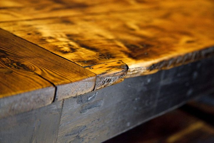 Reclaimed barn wood is beautiful and sustainable material for kitchen islands.