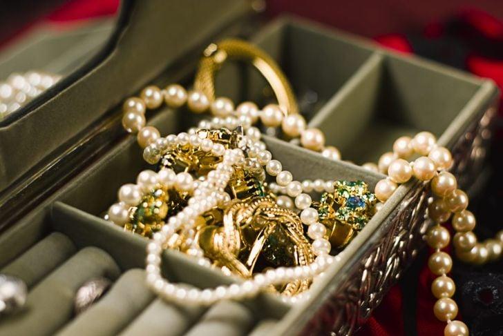 jewelry box gold silver