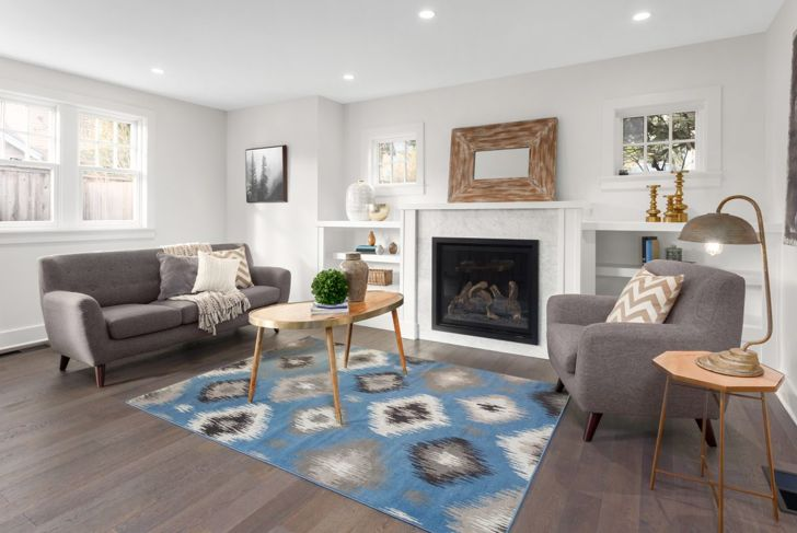 This statement rug is a refreshing decor element in an otherwise understated color palette.