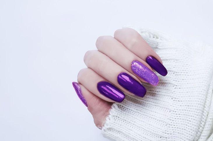 Long acrylic polished nails