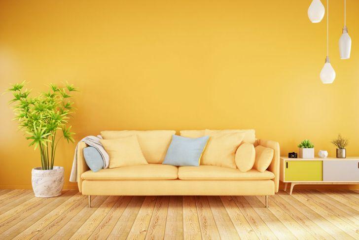 Yellow living room and sofa