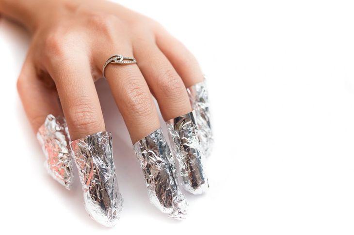 Soak acrylic nails in Acetone