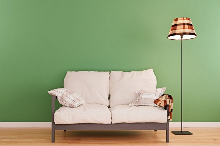Olive living room with white sofa
