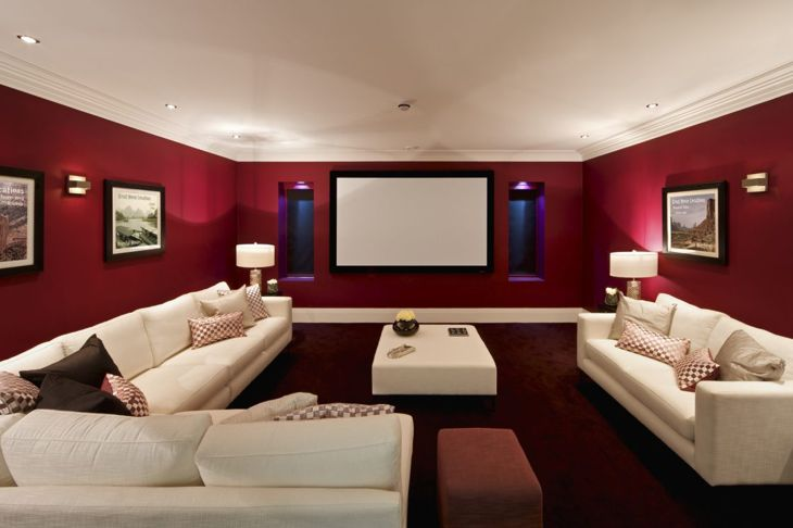 Red living room with white furniture
