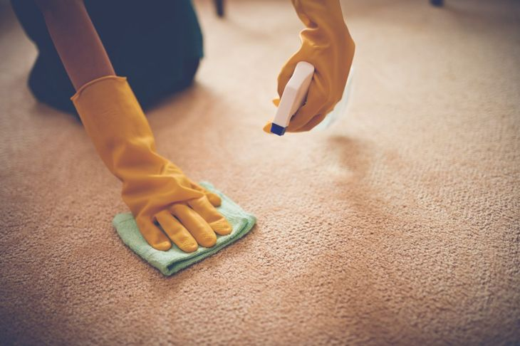 A person using a spray bottle and towel to clean a carpet