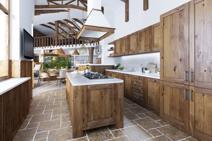 This kitchen features lots of wood and brown tones, but still looks contemporary.