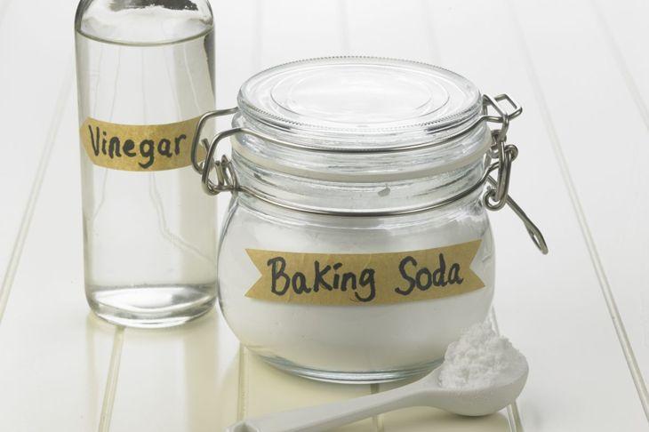 Jars of baking soda and vinegar