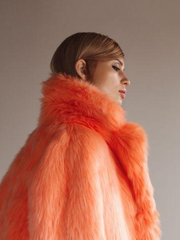 Faux Fur Coat Orange Bright