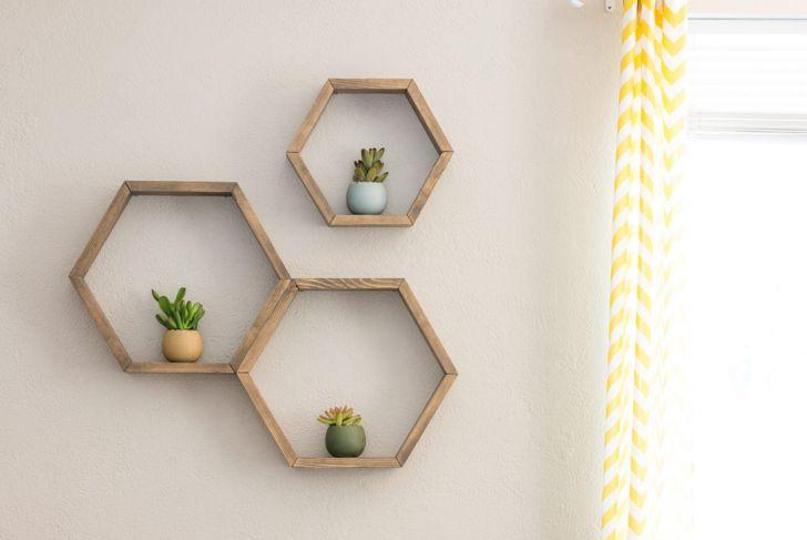 Rustic shelves geometric shelf