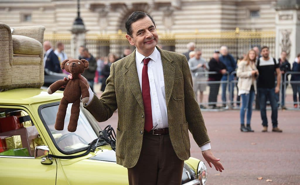 LONDON, ENGLAND - SEPTEMBER 04: British comedy icon Mr. Bean heads to Buckingham Palace to celebrate 25 years, the release of Mr. Bean 25th Anniversary DVD Boxset, and new animated episodes on Boomerang at The Mall on September 4, 2015 in London, England.