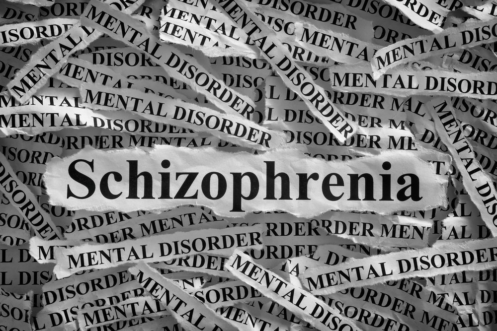 shreds of paper with schizophrenia and mental disorder written on them