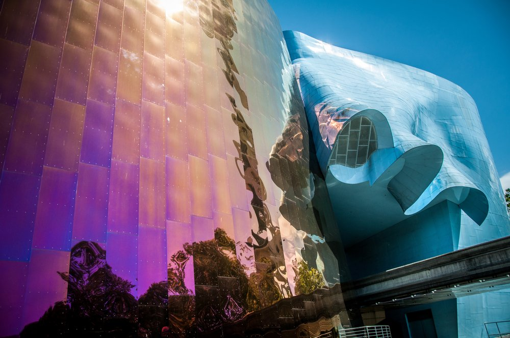 Exterior of the Museum of Pop Culture (MoPOP), formerly called the Experience Music Project.