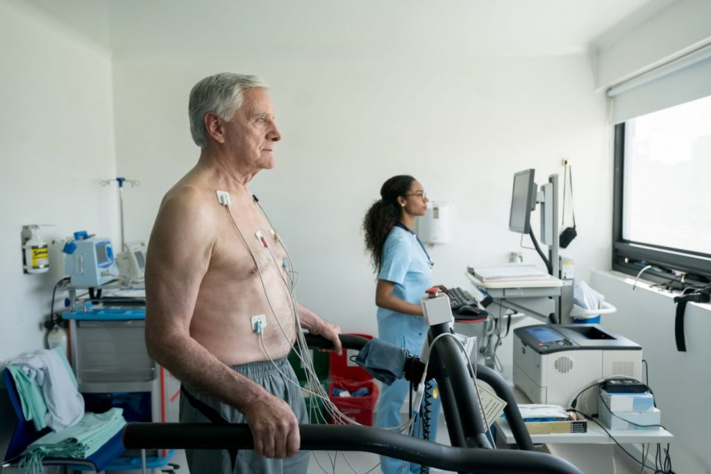 Person undergoing medical tests
