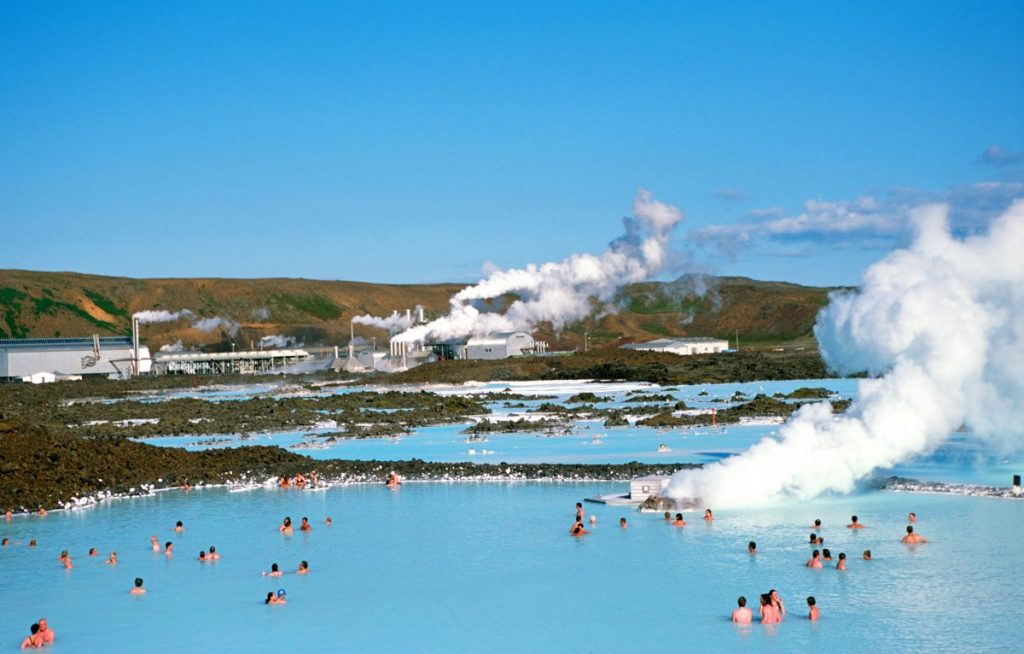 Relax at geothermal spa the Blue Lagoon.