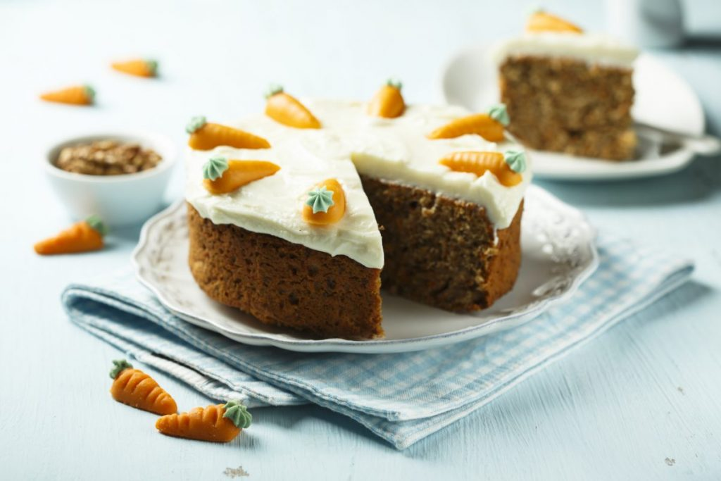 grate or cut carrots in carrot cake