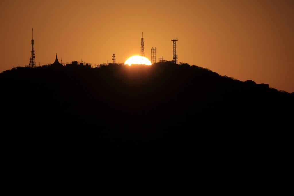 Mt.Bizan and the setting sun