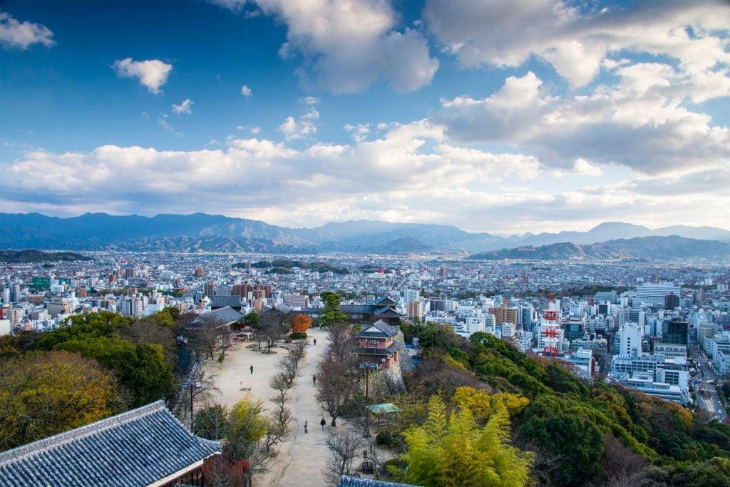 Matsuyama, Japan cityscape.
