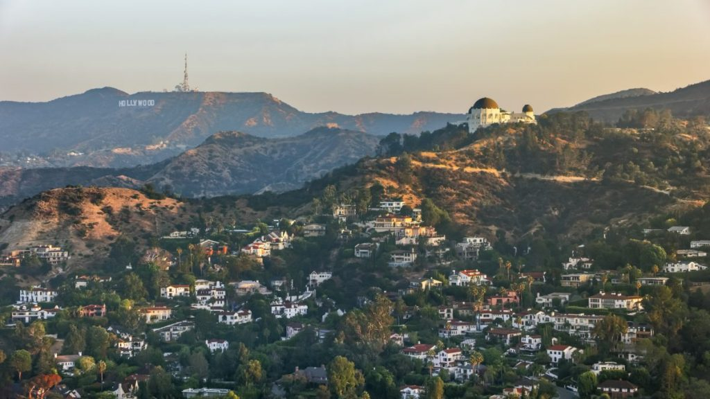 aerial view of griffith observatory