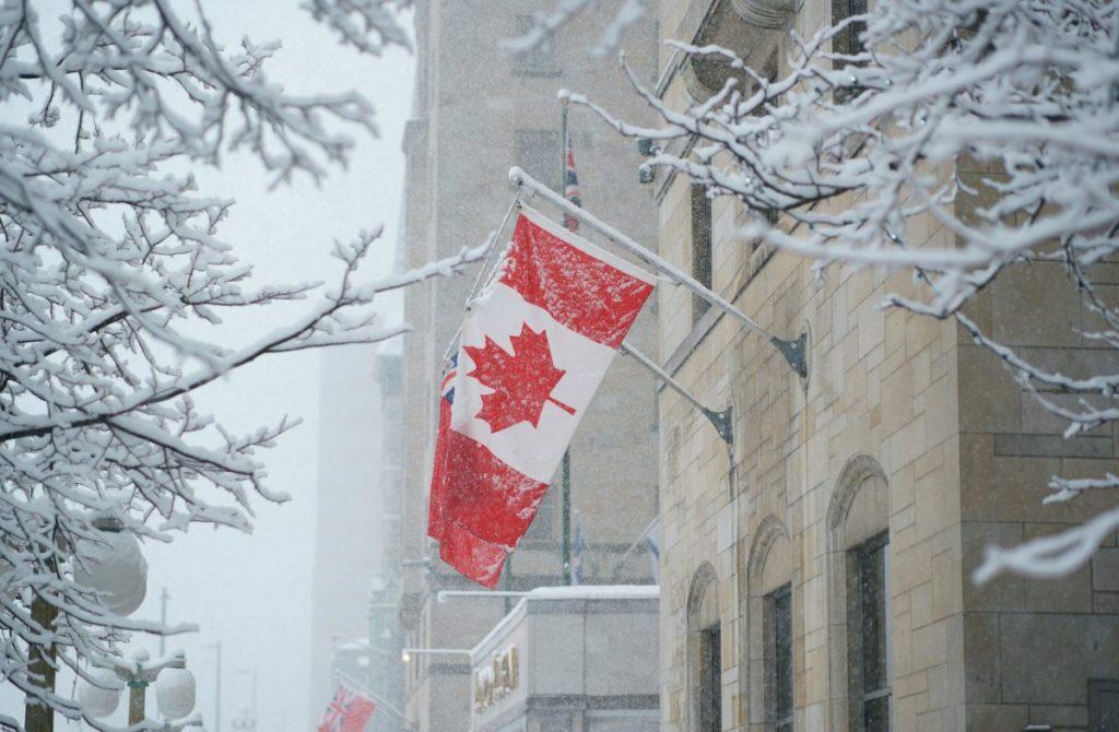 Canadian flag in Ottawa snow