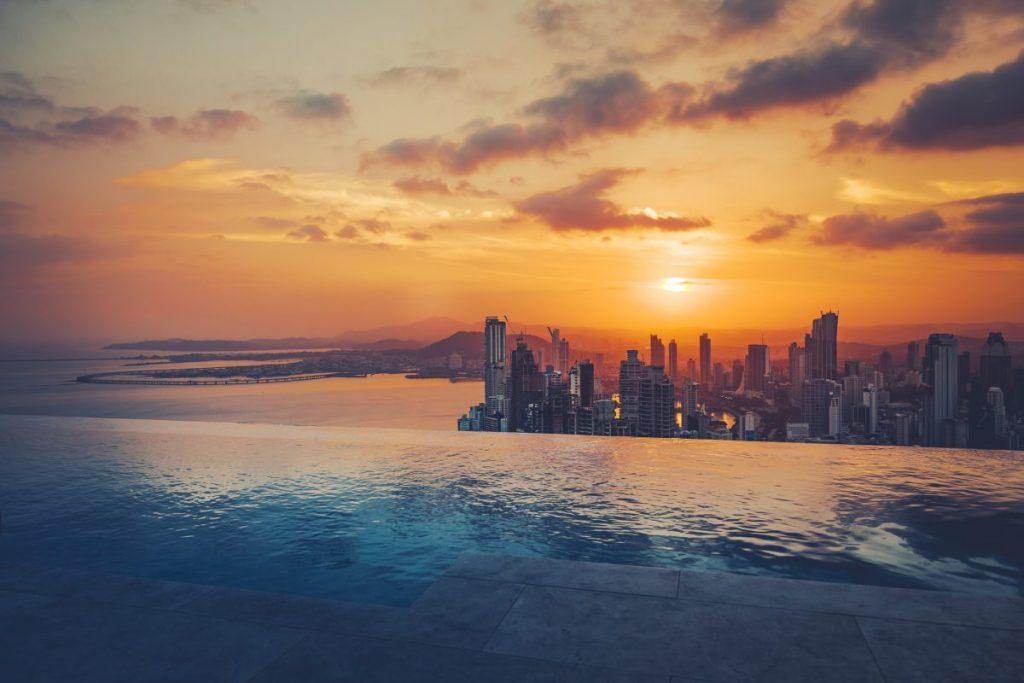 panama city skyline sunset